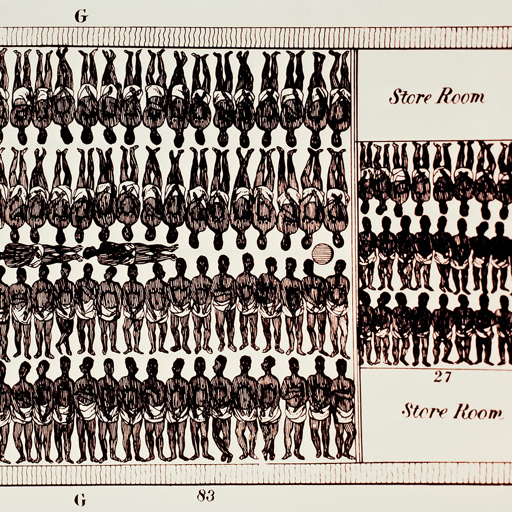 """Interior of Slave Ship. A detailed drawing of the inside of a slave ship, showing how close together the """"cargo"""" was packed. --- Image by © Louie Psihoyos/Science Faction/Corbis"""